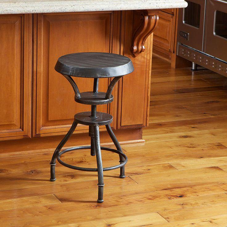 Set of 2 industrial metal design adjustable height swivel for Industrial design bar stools