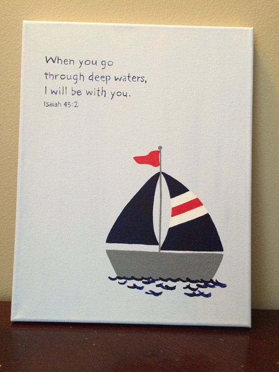 Bible verse canvas art. Nautical nursery by LittleWhispersOfHope