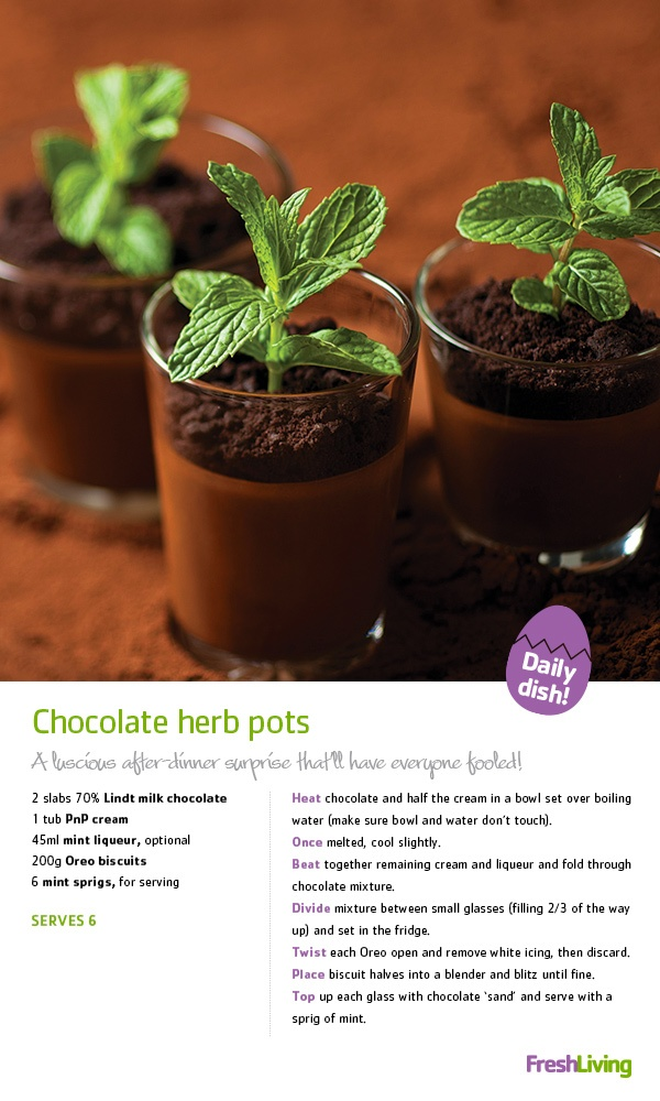 CHOCOLATE OVERDOSE: These sweet #chocolate herb pots make the perfect #Easter dessert. After all, there's no such thing as too much chocolate, right? #dailydish #picknpay #freshliving