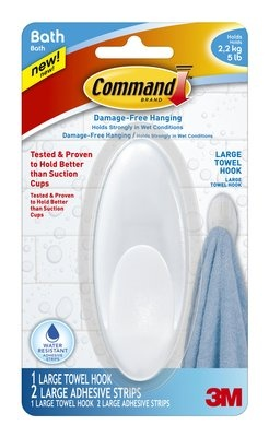 The Large Towel Command™ Hook allows you to keep towels and robes off the floor, and no holes in the walls if someone hangs on them like a monkey!