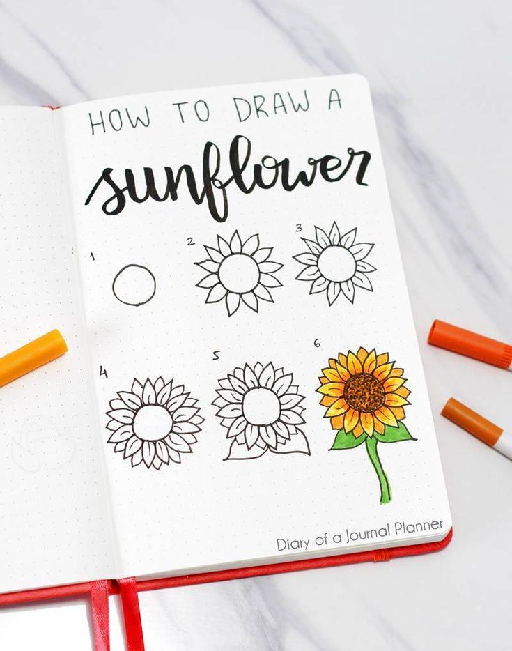 Wie zeichnet man ein Sonnenblumen-Gekritzel? – #Ei…
