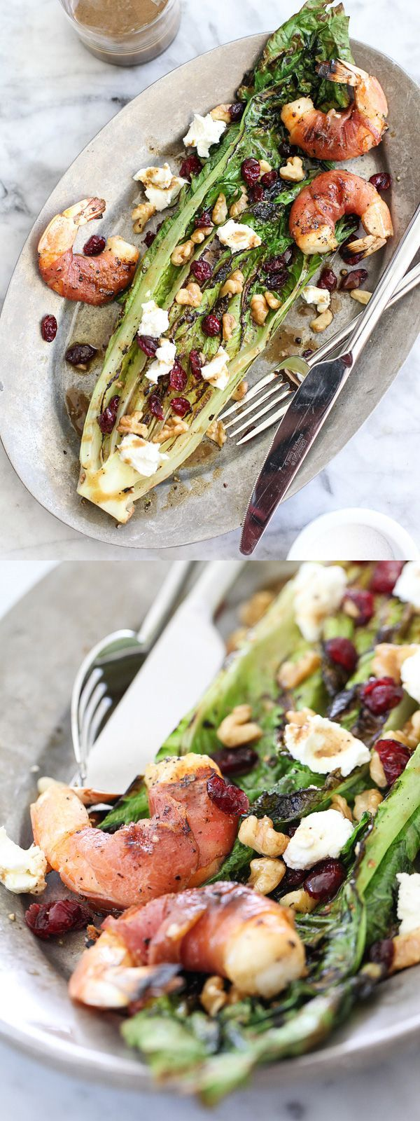 Grilled Romaine Salad with Prosciutto Wrapped Shrimp | foodiecrush.com
