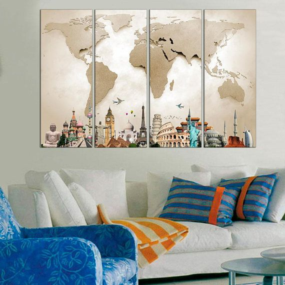 Large World Map Travel Canvas Print   World Map Wall Art   World Map Poster    Map On Canvas Living Room Wall Art   Map Wall Decor Framed #Home #Décor # Wall ... Part 84
