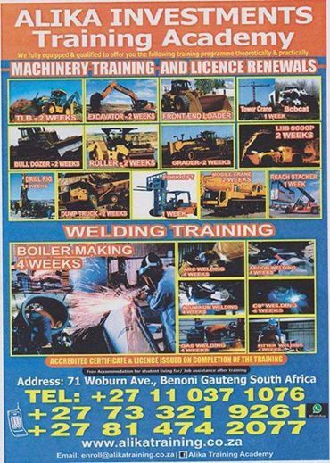 AlikaInvestments Training AcademyFebruary Promotion: www.alikatraining.co.zaInternationalStudents welcome our License and Certificate recognized internationally  Free accommodation provided.FebruaryPromotion Machinery Operators Training:Get Forklift training for free if you train with us any machinery below: TLBR2500, Excavator R4000, Front End Loader R3000, Mobile Crane 50 ton R4500,Reach Stacker/Container Forklift 45 ton R6000, Forklift 3 tons R800 and 7 tonsR1400, Dump Truck R4500, LHD…