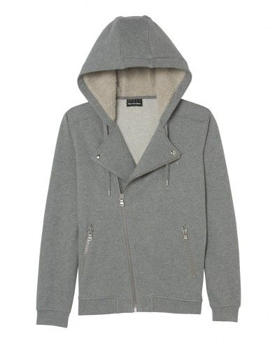 hooded biker sweatshirt with sheepskin lining . grey by kooples