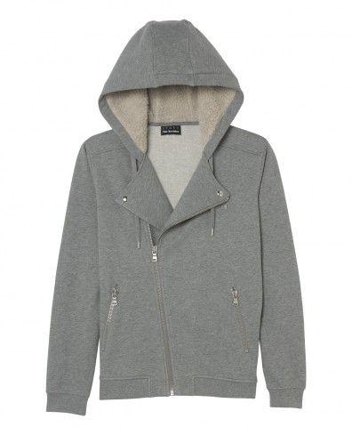 hooded biker sweatshirt with sheepskin lining . grey by kooples