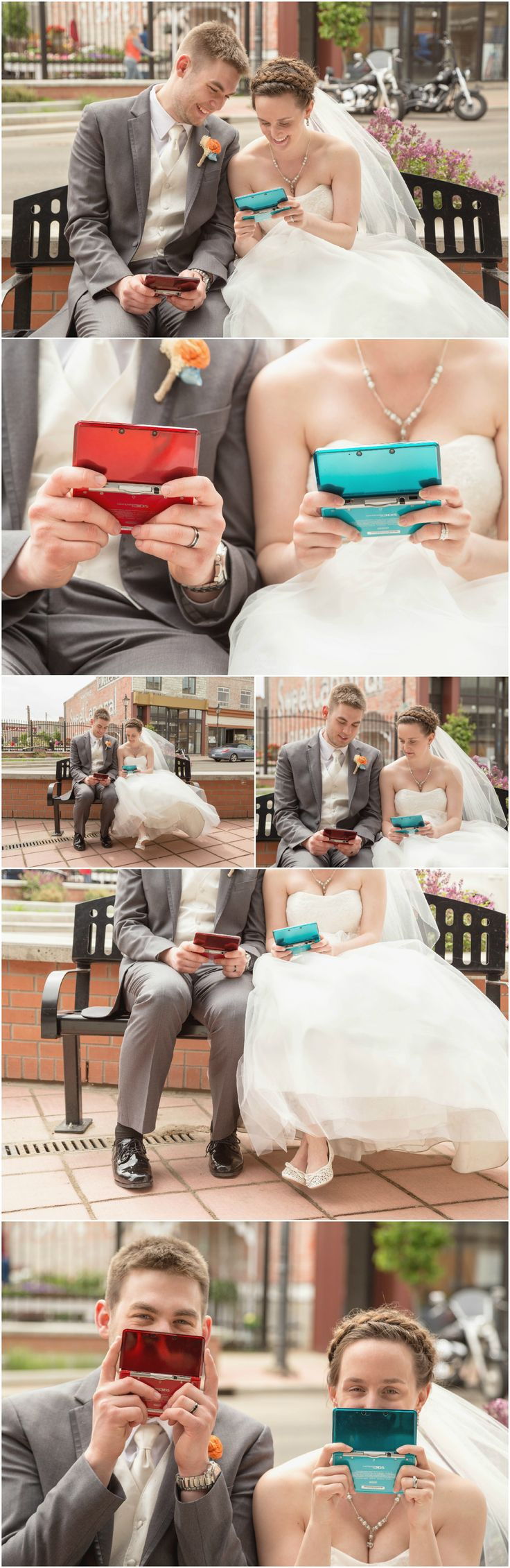 Jayda + Cole's Video Game Wedding   Woods Photography. Geek wedding photo idea of a bride and groom playing their first game as husband and wife with their Nintendo DS. Taken Downtown in Medicine Hat, AB (CANADA). #NintendoDS #GeekWedding #Geek