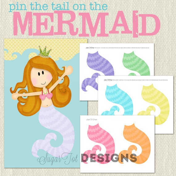 pin the tail on the mermaid. party game idea. etsy. $6.