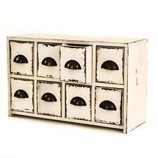 Antique White Style Wooden Table Top 8 Drawer Storage Unit Chest w/ Metal Pulls
