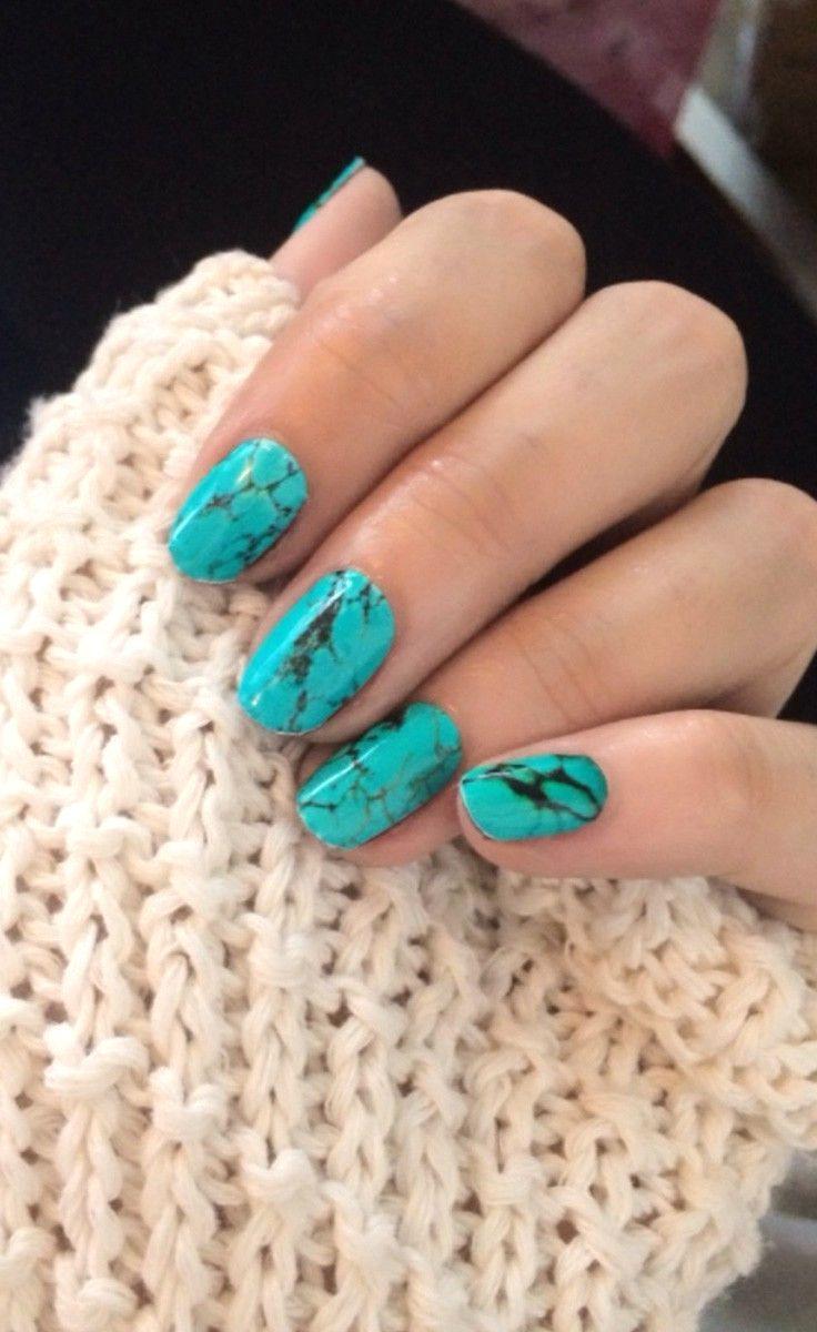 turquoise stone nails