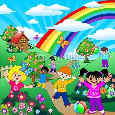 Children on Green Hill Landscape-Vector © bluedarkat