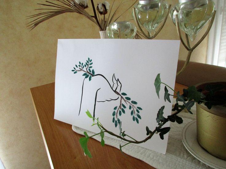 La Nature  Illustration en tirage limité. Laisser entrer la nature dans votre intérieur ! Illustration originale à l'encre de chine et pastel.