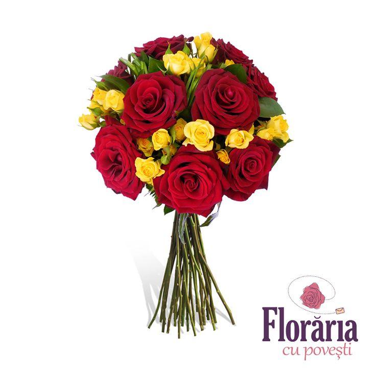 Buchet trandafiri rosii si miniroze galbene