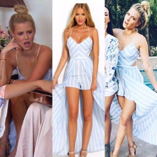 Ariana Madix's Striped Maxi Romper / Dress at Katie's Shower http://www.bigblondehair.com/reality-tv/vanderpump-rules/ariana-madixs-striped-maxi-dress-jumpsuit/ Vanderpump Rules Fashion Season 5 Episode 11