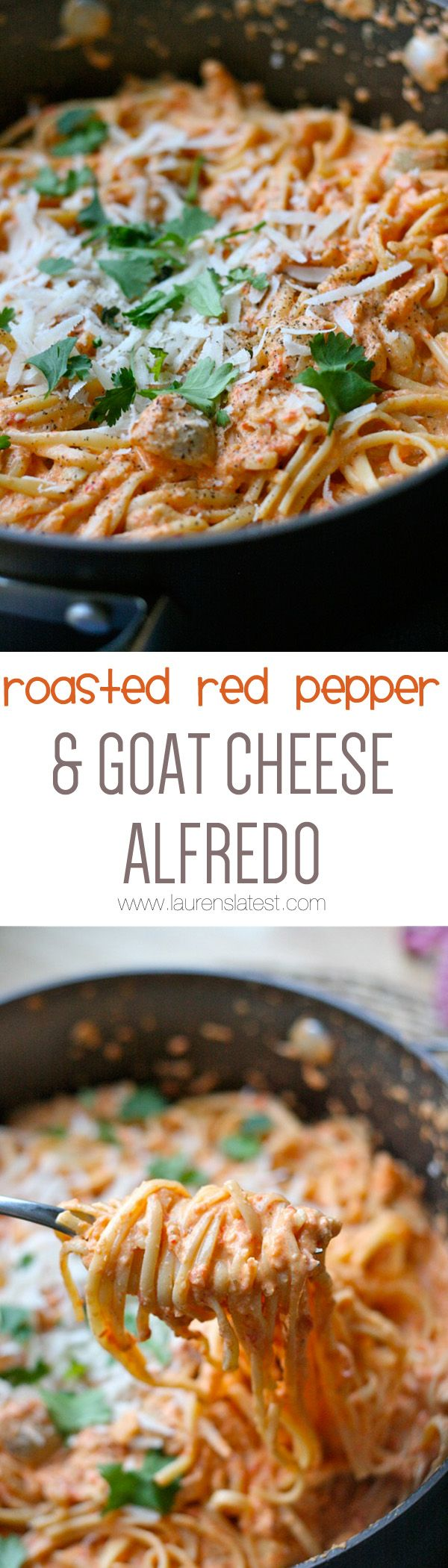 Roasted Red Pepper & Goat Cheese Alfredo | Recipe | Goat cheese, Red ...