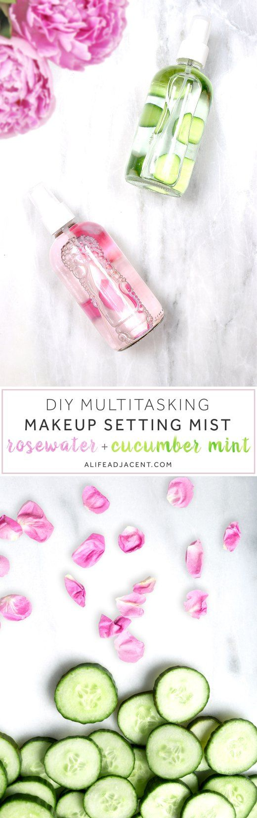 Rosewater, roses, cucumber, mint, vegetable, glycerin, makeup, face mist, setting spray, toner, essence, petals, cucumber slices, marble, natural, DIY, beauty, homemade, holistic, health, nontoxic, personal care, pink, green, dewy, glow, highlight, matte, skin, skin care, glass bottle, simple, easy, cheap, moisturize, hydrate, hydration, preservative, rose otto, cucumber extract, essential oil. Bottom photo © EJ Grubbs / Bigstock Photo / 279photo / Bigstock Photo