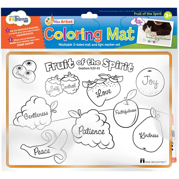 Great For The Little Ones Who Want To Do Homework Too Reusable With Rinse In Sink Fruit Of Spirit Coloring Mat