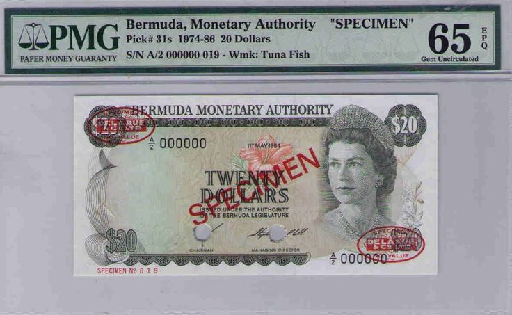 BERMUDA Monetary Authority Bermuda $20 1974 Spec, A/2 000000 PMG 65EPQ