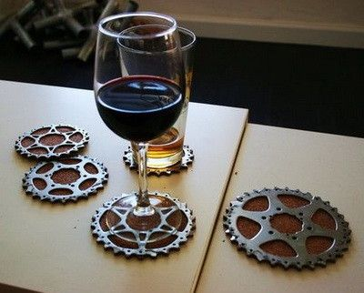 Bicycle parts used for coasters  - 8 Ways to Use Recycled Bicycles in Your Home