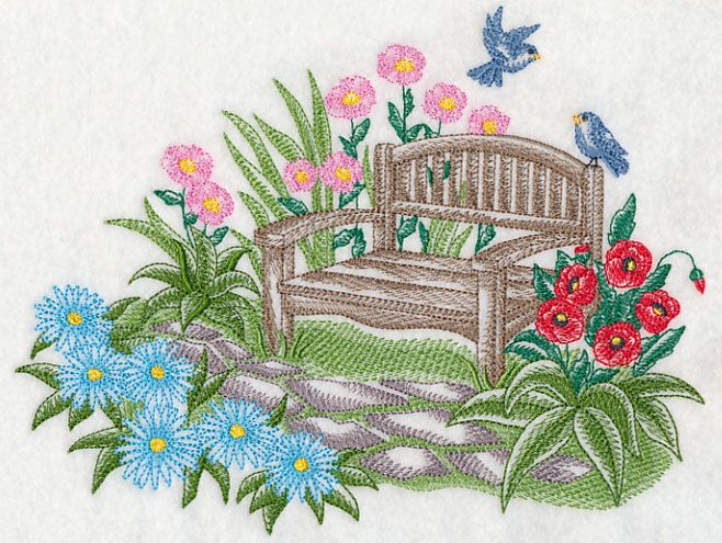 Garden Embroidery Designs a beautiful garden scene is a gorgeous addition to any project toile designs have light stitches and open areas that allow the fabric to show through Rqq Garden Bench Serenity Toile Embroidered Fabric Quilt Block