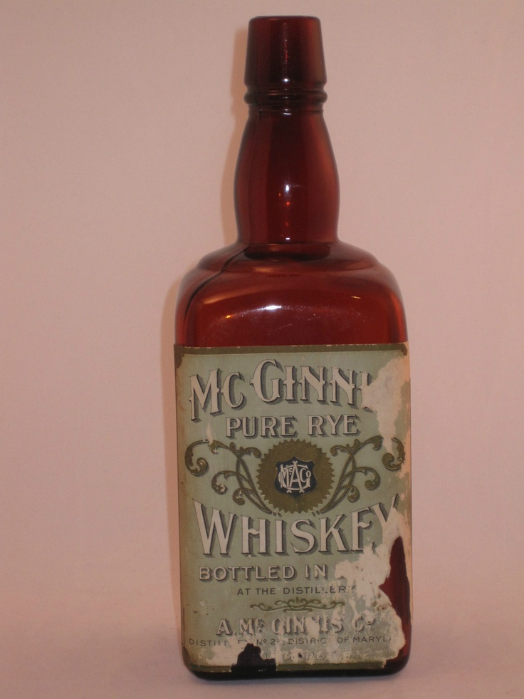 Antique McGinnis Rye Whiskey Bottle with Label Pre ...