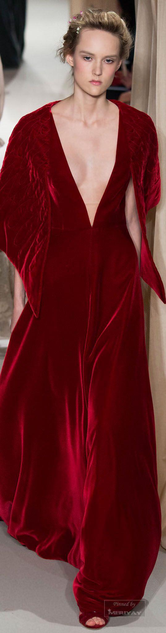 red velvet Valentino.Spring 2015 Couture.