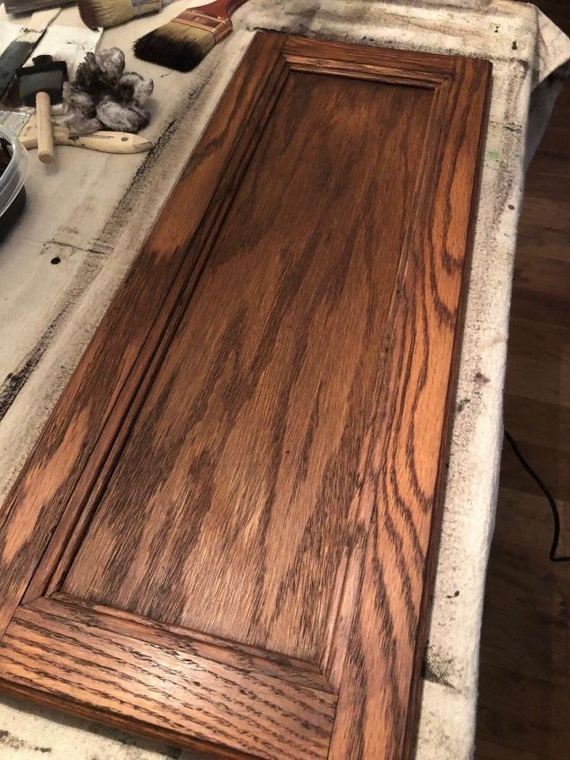 Update Golden Oak Cabinets With A Darker Stain From General Finishes.