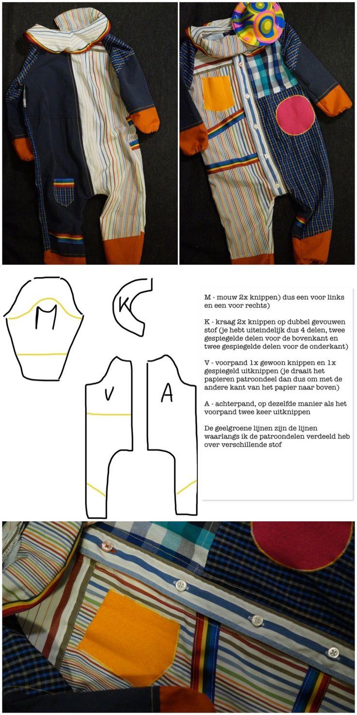 Dit clownspakje is een overall die tijdens de optocht met carnaval lekker over de jas van je kindje heen kan.