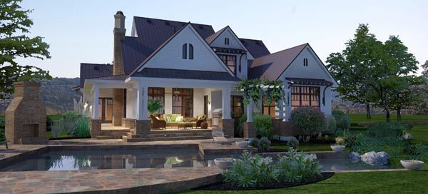Rear Elevation of Country   Farmhouse  Traditional   House Plan 65879