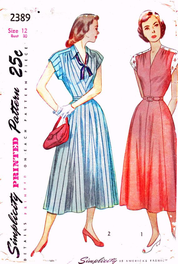 1940s Simplicity 2389 by OpalsOwlVintage, $14.00: Fashion Patterns, 1940S Simplicity, Late 1940S, 1940S Uncut, Commercial Patterns, Vintage Pattern, 1940S Bust