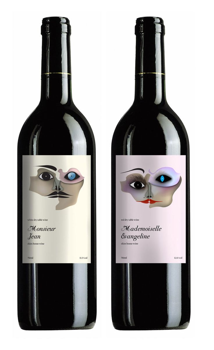 His and hers. Monsieur and mademoiselle. Wine packaging. Labels. Sante!