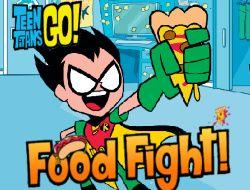 Teen Titans Go! Food Fight: Os Teen Titans Go estão participando de uma guerra de comida. Ajude Robin a acertar pizza em Cyborg, Beastboy e Raven.