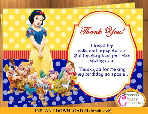 snow white thank you card snow white