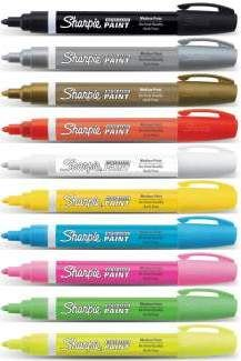 Sharpie Poster Paint acrylic paint markers for detailed designs on paper, plastic, glass and wood. Markers are $2 each and come in fine and medium tips.