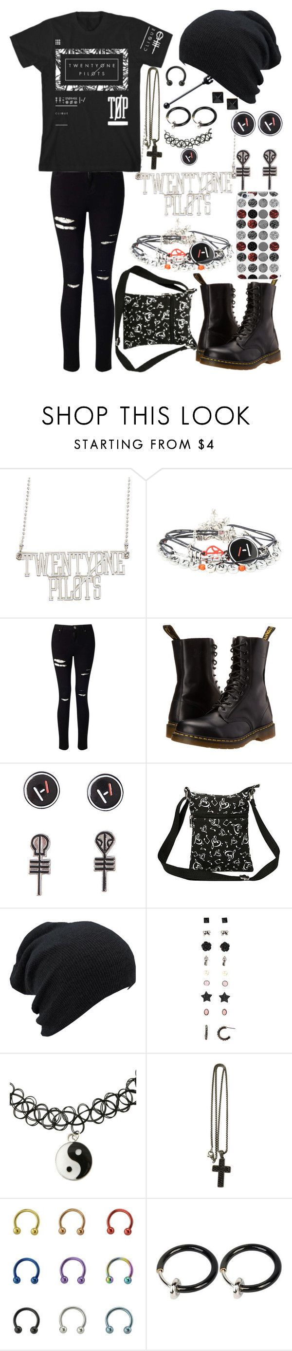 """""""Twenty One Pilots"""" by legacy-sinister ❤ liked on Polyvore featuring Miss Selfridge, Dr. Martens and David Yurman"""