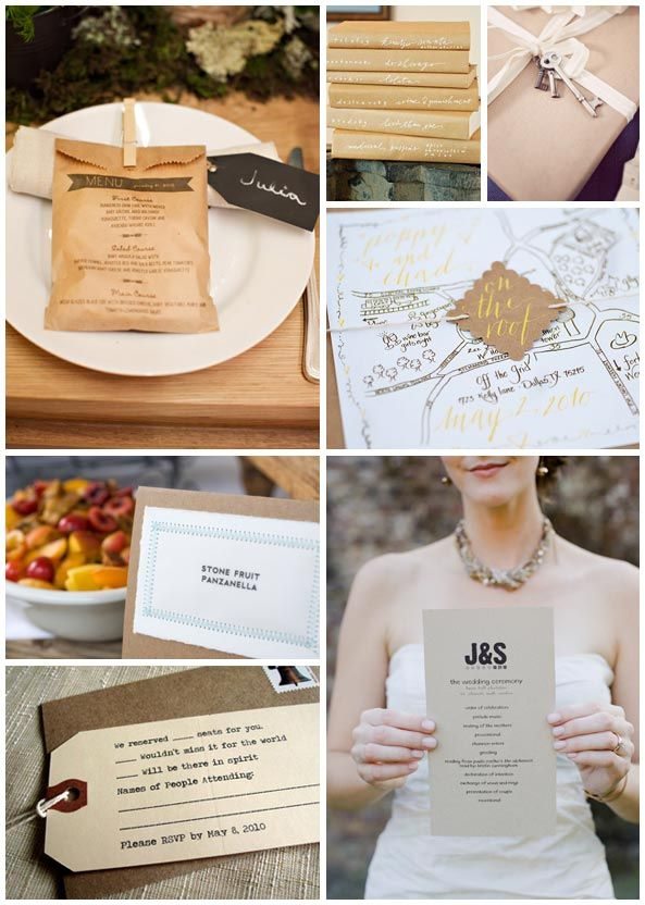 top wedding invitations016%0A i adore simple kraft paper   this menu  on  a bag is