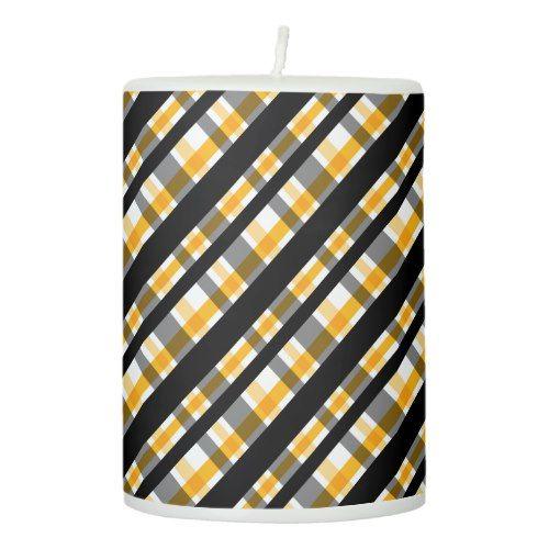 Pittsburgh Sports Fan Black Yellow Gold Plaid Pillar Candle