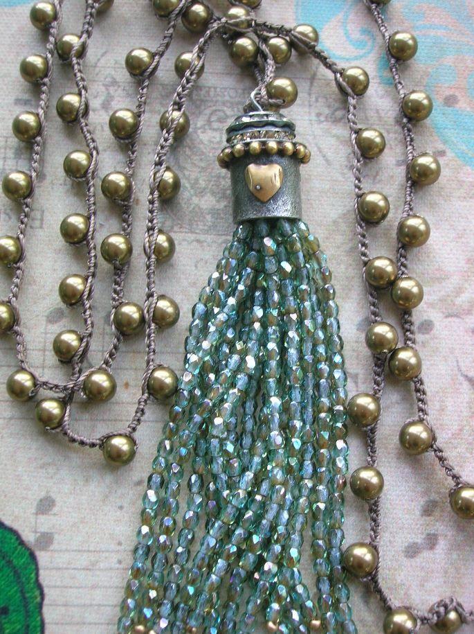 Beaded tassel necklace crochet necklace Love by 3DivasStudio