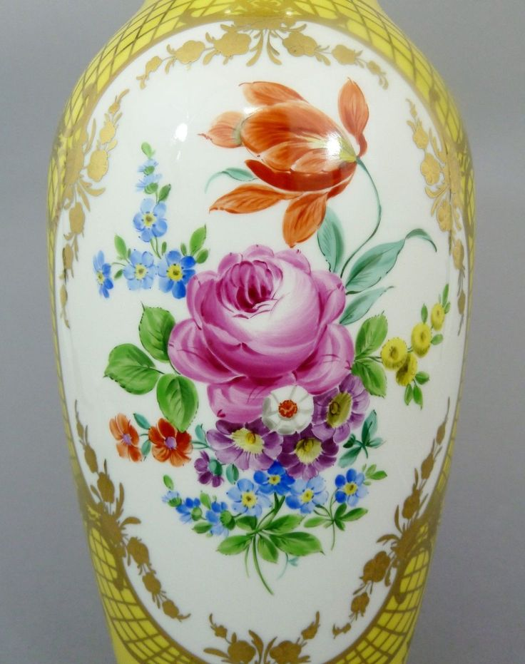 KPM Berlin, große Vase / Bodenvase mit Blumenbukett, gelber Fond H= 40 cm in Antiquitäten & Kunst, Porzellan & Keramik, Porzellan | eBay
