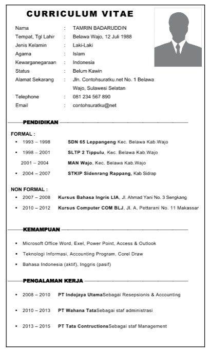 Contoh Curriculum Vitae atau Biodata Diri (Daftar Riwayat Hidup) File Word | Contoh Surat Lamaran Kerja, Surat Resmi, Surat Pribadi dan Laporan
