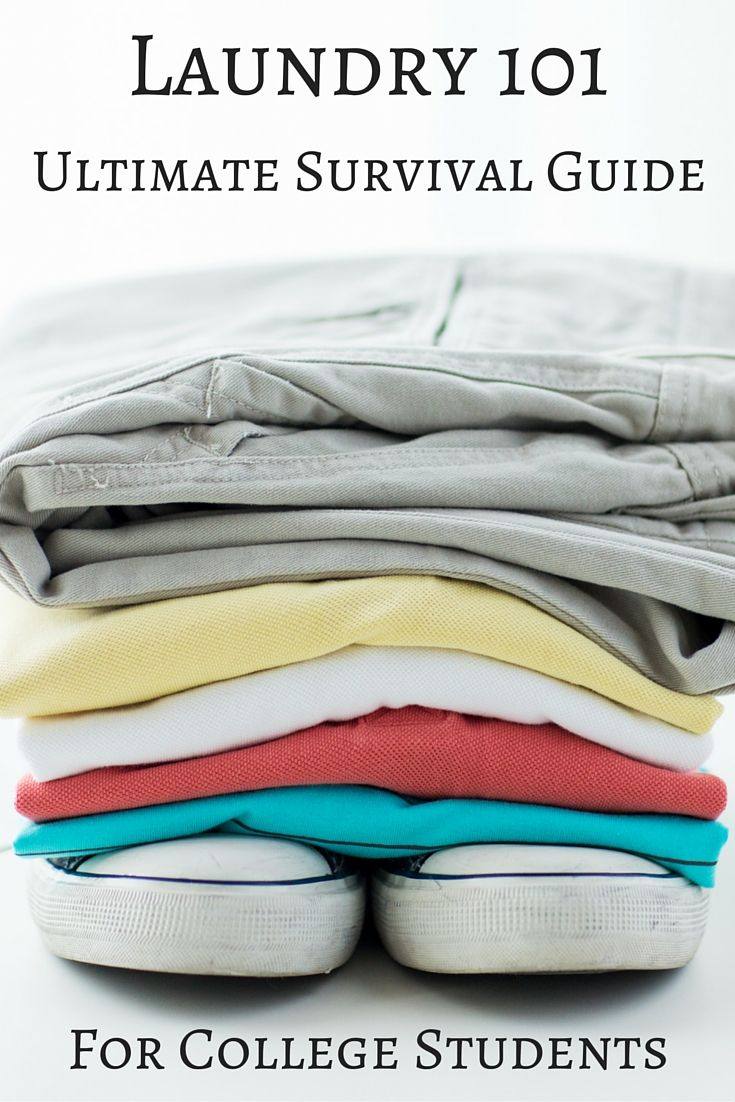 Essential laundry guide for college students. This comprehensive survival guide covers all the basics: sorting, machine settings, water temps and more!