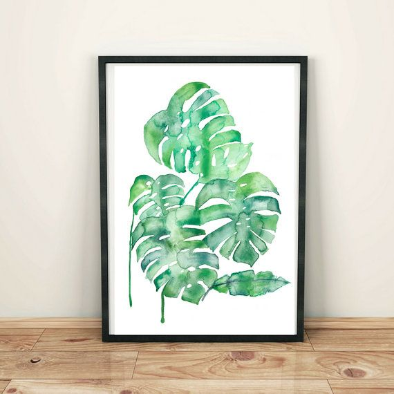 MONSTERA LEAF PRINTABLE  Watercolor Original by theartcitizen