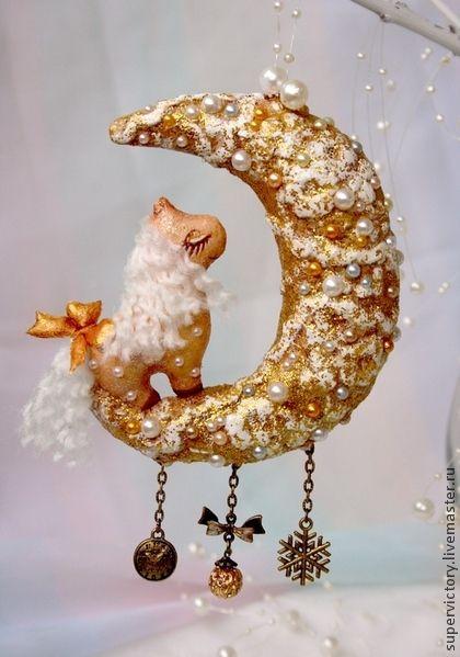 """Новый год 2015 ручной работы. Ярмарка Мастеров - ручная работа Елочная игрушка """"Лунные качели"""". Handmade."""