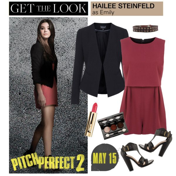Get the Look: Hailee Steinfeld in Pitch Perfect 2 by polyvore-editorial on Polyvore featuring Topshop, Miss Selfridge, Michael Antonio, HTC, Vincent Longo, Guerlain, emily, haileesteinfeld and pitchperfect2