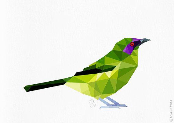 Bellbird, New Zealand native bird, Geometric print, Original illustration, Animal print, Minimal art, Nursery wall art