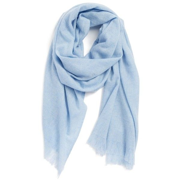 Caslon Heathered Cashmere Gauze Scarf (£67) ❤ liked on Polyvore featuring accessories, scarves, blue, cachecol, women, blue hydrangea heather, cashmere shawl, fringe shawl, cashmere scarves and gauze scarves