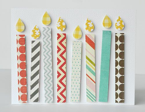 Super easy handmade birthday card made with your paper scraps!!! Choose the number of candles you want or make a fun color scheme.