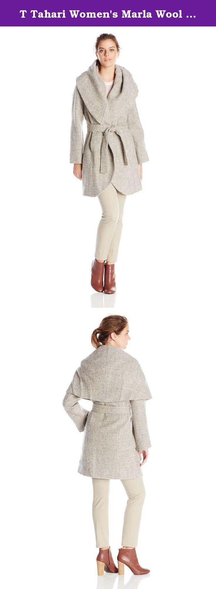 T Tahari Women's Marla Wool Tweed Wrap Coat, Mink/Macrame, Large ...