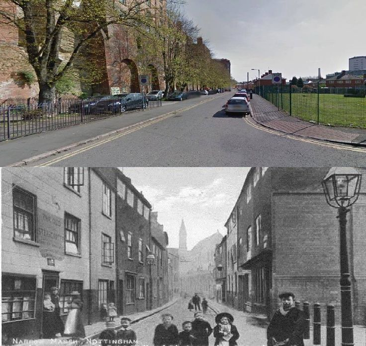 Narrow Marsh , Nottingham 1900s vs 2015.