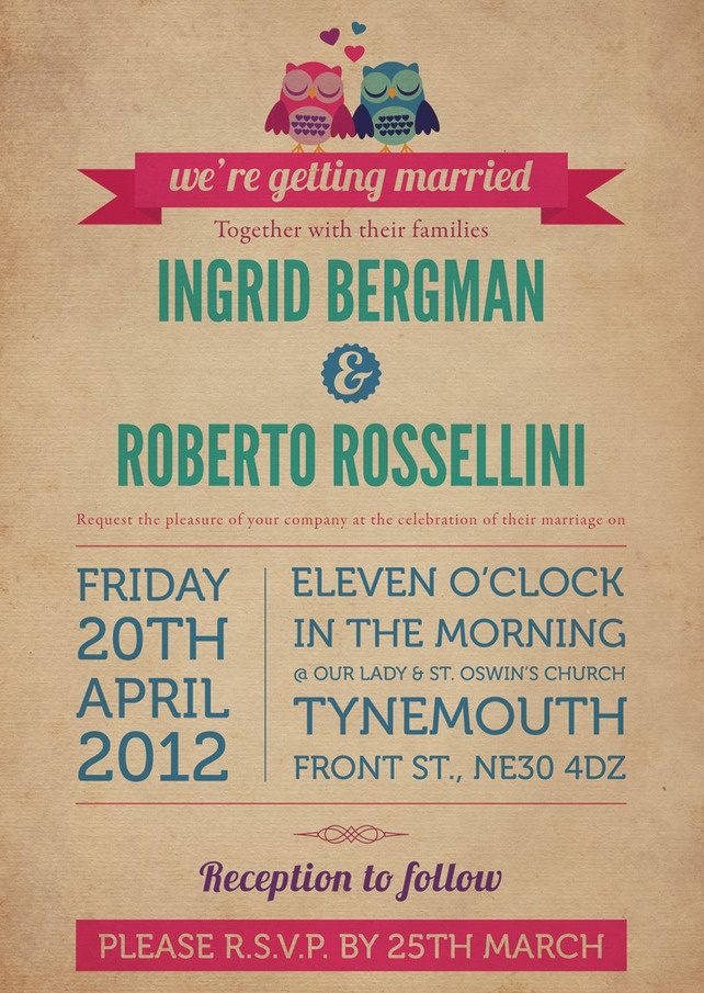 Owl Themed Vintage Retro Style Wedding Invitation - Folksy. Love. it. Love it!